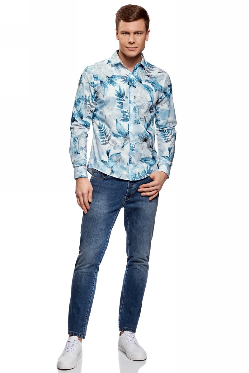Рубашка3L310142M/46603N/1075FРубашка приталенная с цветочным принтом