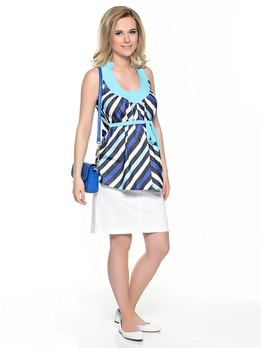 Блузка32351Изящная блузка для беременных, без рукавов, свободного покроя с легкими складками от округлого декольте. Свободный крой с разноцветными полосками по диагонали идеально корректирует силуэт, глубокое декольте делает акцент на женственности модели, американская пройма обнажает красоту плечь, втачными поясами можно регулировать силуэт.