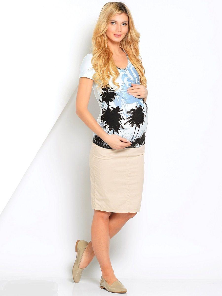 Блузка21224Футболка для беременных, из трикотажного полотна. Комфортная модель без лишних деталей, украшена стильным принтом. Футболка приятная к телу, обеспечивает легкость и свободу движениям, подходит в течении всего срока беременности и после рождения малыша.