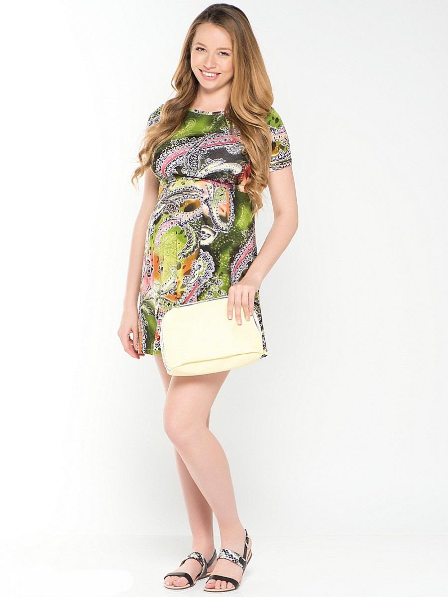 Платье39378Повседневное платье для беременных и кормящих мамочек. Женственный силуэт подчеркивает креативный рисунок на приятном трикотажном полотне. Модель с короткими рукавами, и с округлым вырезом горловины, с уникальным секретом кормления, который скрыт под кокеткой. Универсальный фасон позволяет с комфортом носить такое платье на любом сроке беременности и после рождения малыша.