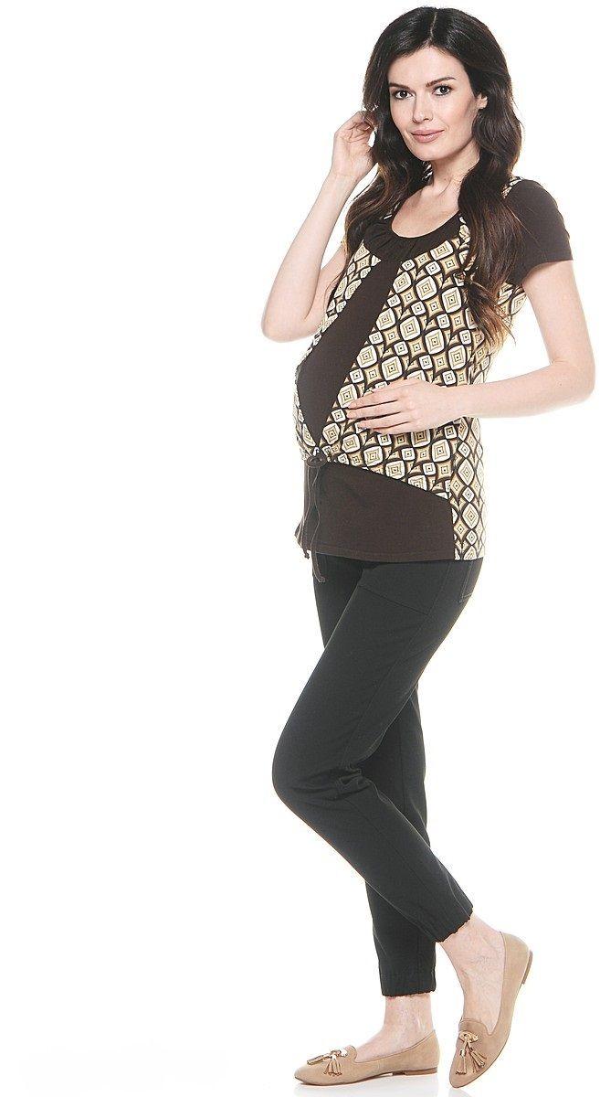 Блузка26275Великолепная комбинированная блузка для беременных и кормления. Модель без рукавов, с округлым вырезом горловины. Имитация изделий два в одном придает фасону оригинальность. Блузка выполнена из приятного трикотажного полотна, продуманный крой обеспечивает отличную посадку по фигуре на любом сроке беременности и после рождения малыша.