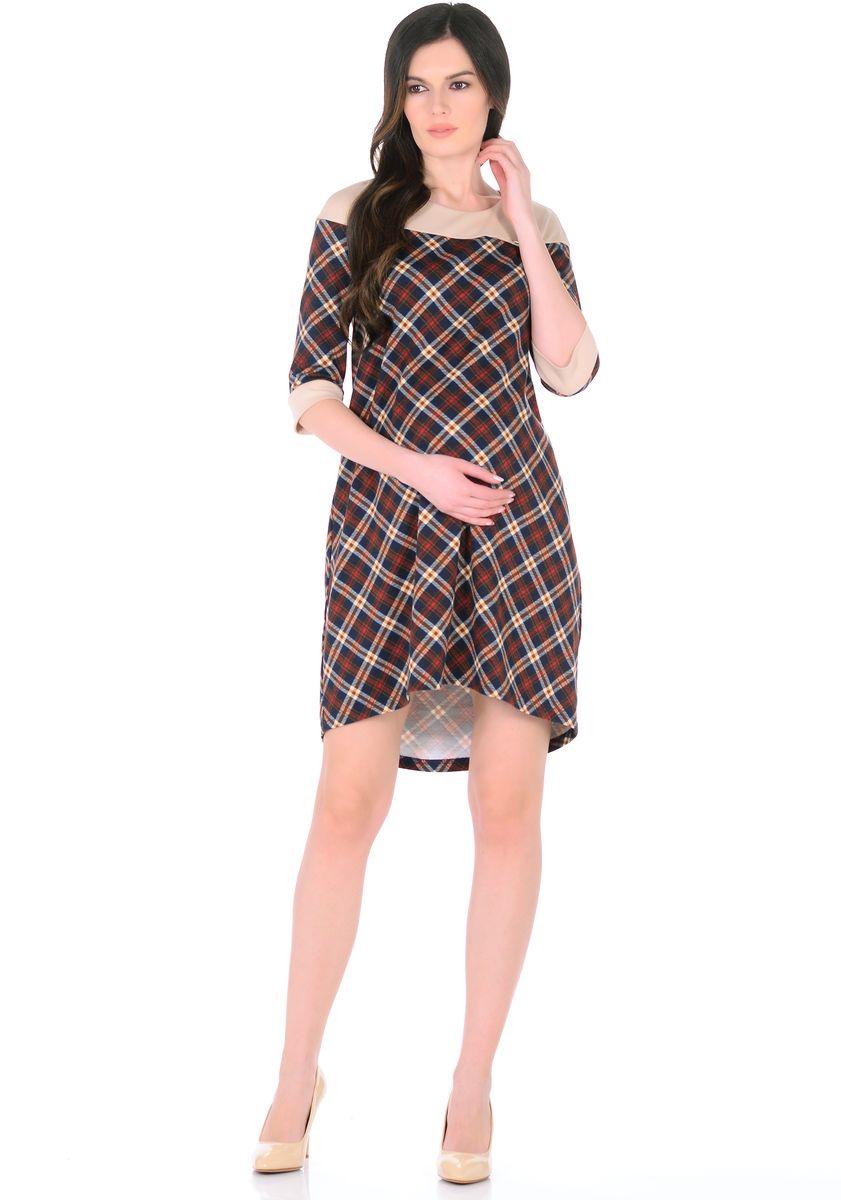 Платье300328Стильное платье для беременных женщин изготовленное из трикотажного полотна, ткань приятная к телу, мягкая, и не мнется. Модель платья свободного трапециевидного покроя, с высокой отрезной кокеткой, с рукавами 1/2, вырез горловины округлый, спинка слегка удлиненная. Стильная комбинированная расцветка привлекает внимание, декоративный элемент на груди придает изюминку. Платье хорошо садится по фигуре, продуманный крой предусматривает пространство для растущего животика. Отражая последние модные тенденции, такое платье подчеркнет хороший вкус, сделает образ беременной женщины модным, современным и привлекательным.