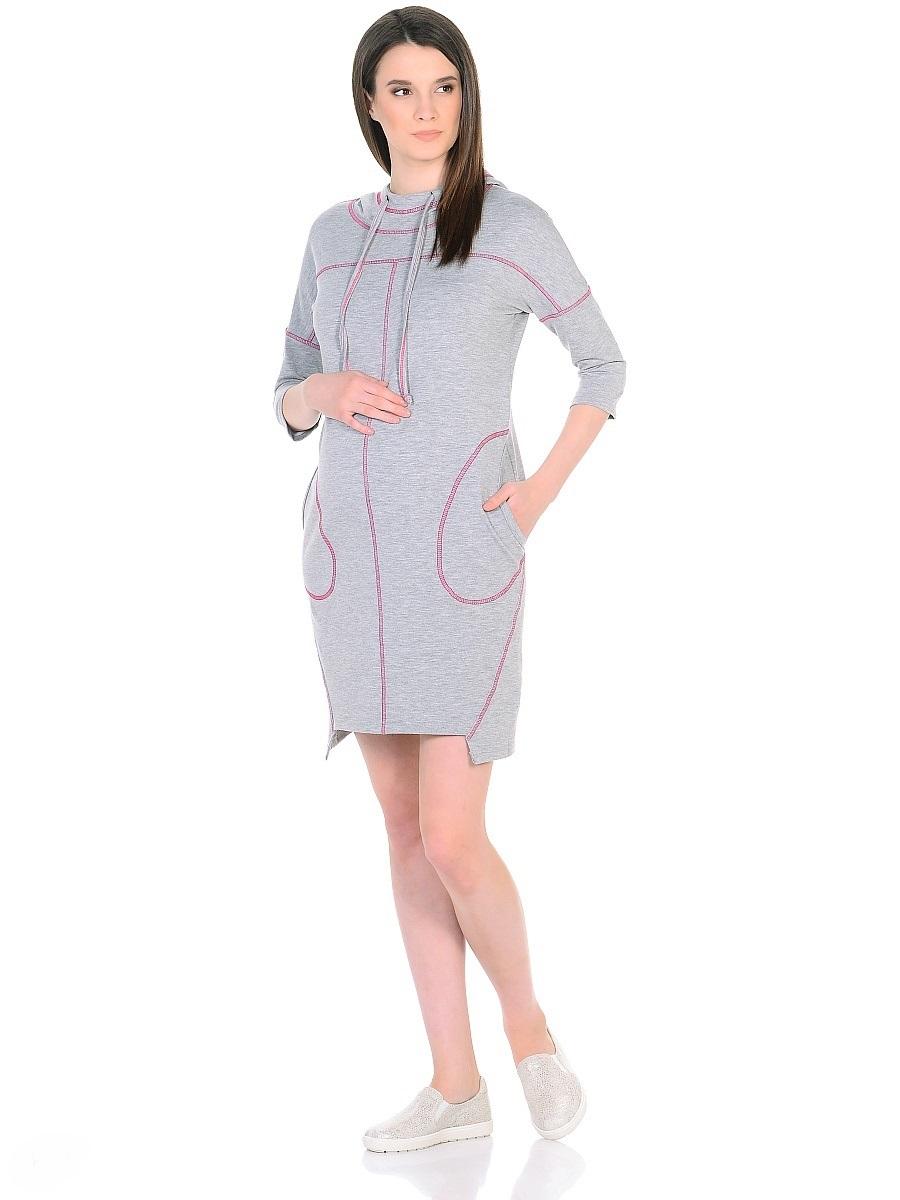 Платье300329Оригинальное платье для беременных, изготовлено из трикотажного полотна. Модель прямого силуэта со спущенным плечевым швом и рукавами 3/4 в стиле oversize. Практичный капюшон с высоким воротом с кулиской на завязках и объемные карманы придают платью спортивный оттенок. Геометрическая форма низа и четкие линии декоративной отстрочки придают модели оригинальный внешний вид. Платье отлично садится по фигуре, не сковывает движений, создает комфорт и непринужденность на любом сроке беременности и после. К тому же такое платье дарит возможность подчеркнуть свою индивидуальность и реализовать желание выглядеть интересно и особенно стильно.