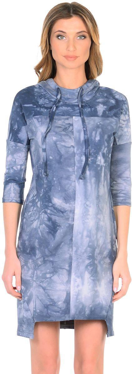 Платье301329Модное платье для беременных, изготовлено из трикотажного полотна в трендовой расцветке под вываренный джинс. Модель прямого силуэта со спущенным плечевым швом и рукавами 3/4 в стиле oversize. Практичный капюшон с высоким воротом с кулиской на завязках и объемные карманы придают платью спортивный оттенок. Геометрическая форма низа искусно дополняет оригинальный дизайн. Платье отлично садится по фигуре, не сковывает движений, создает комфорт и непринужденность на любом сроке беременности и после.