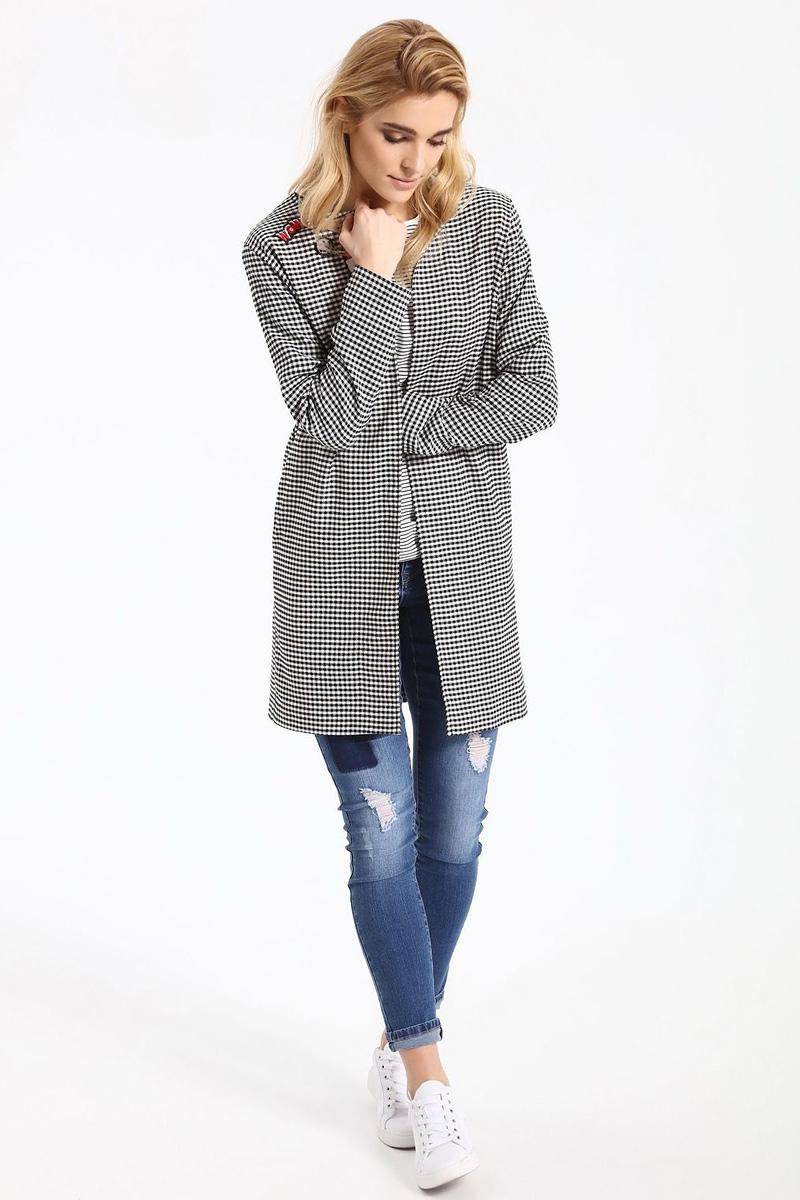 ПальтоSPZ0388CAЖенское пальто Top Secret выполнено из высококачественного комбинированного материала. Модель с длинными рукавами. Оформлено изделие принтом в клетку.