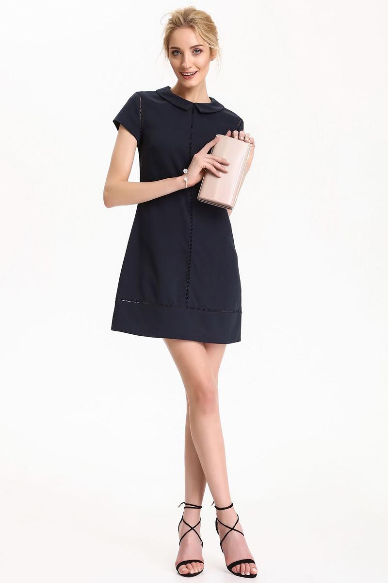 ПлатьеSSU1815GRПлатье Top Secret выполнено из полиэстера, вискозы и эластана. Модель с отложным воротником и короткими рукавами.