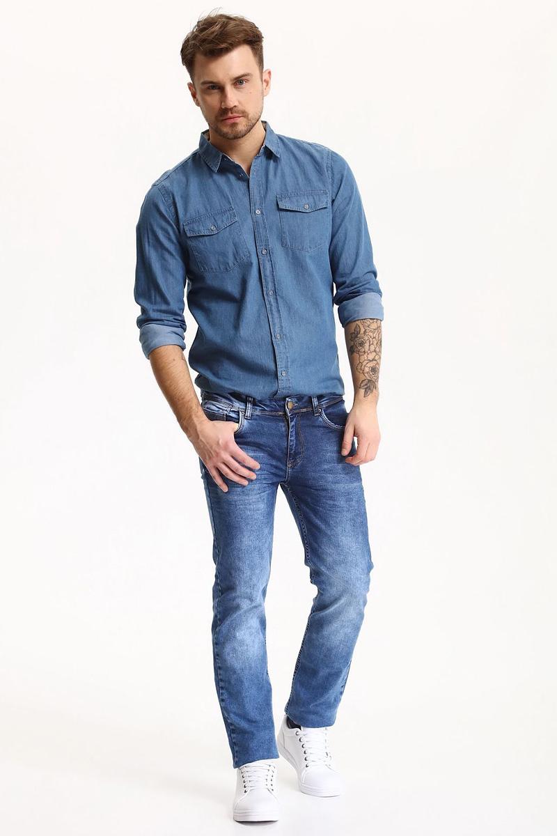 РубашкаSKL2281NIРубашка мужская Top Secret выполнена из 100% хлопка. Модель с отложным воротником и длинными рукавами застегивается на пуговицы.