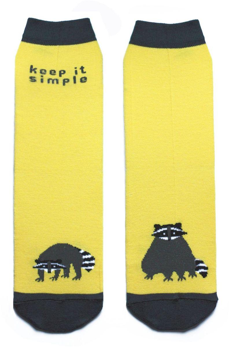 Носкиca1211Яркие носки с несимметричным принтом енот и надписью keep it simple (не усложняй)