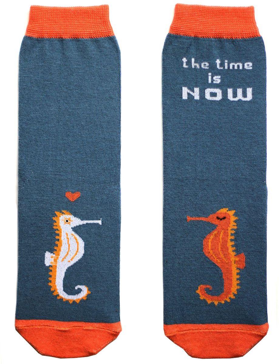 Носкиca1911Яркие носки с несимметричным принтом морской конек и надписью the time is now (время настало)