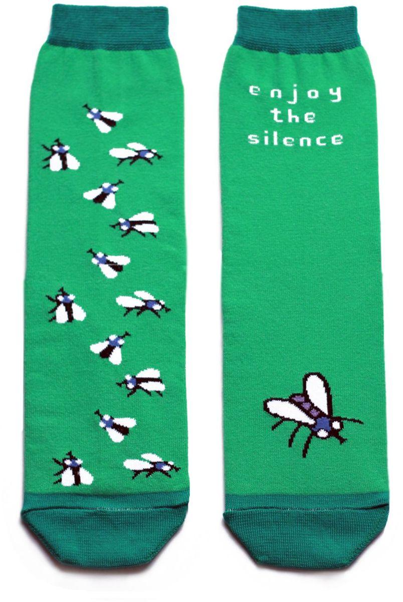 Носкиca1411Яркие носки с несимметричным принтом муха и надписью enjoy the silence (наслаждайся тишиной)