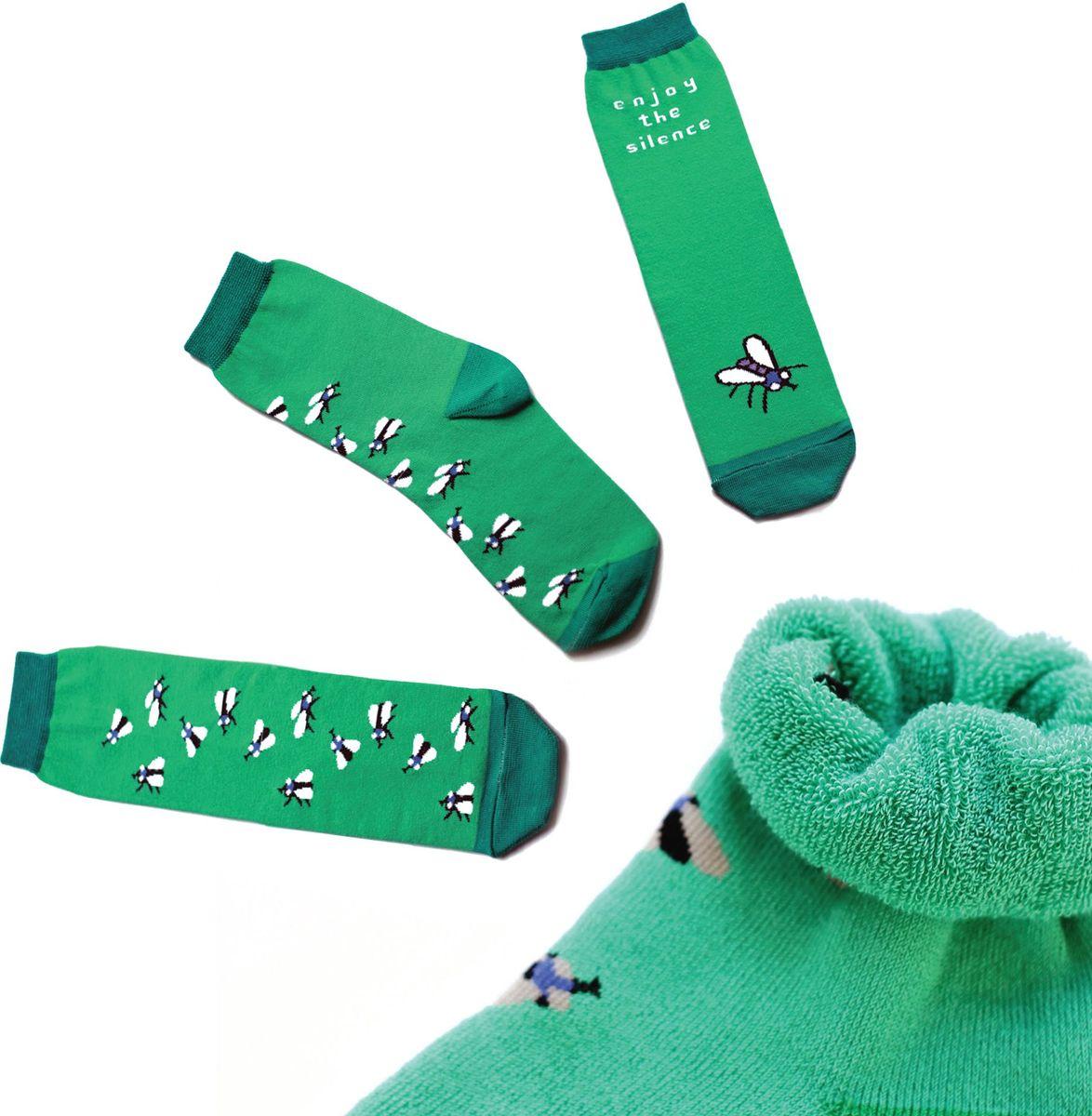 Носкиca1413Яркие носки с несимметричным принтом муха и надписью enjoy the silence (наслаждайся тишиной), махровые
