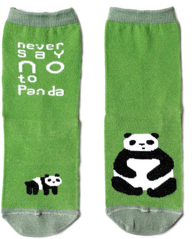 Носкиn111Яркие носки с несимметричным принтом панда и надписью never say no to panda (никогда не говори нет панде)