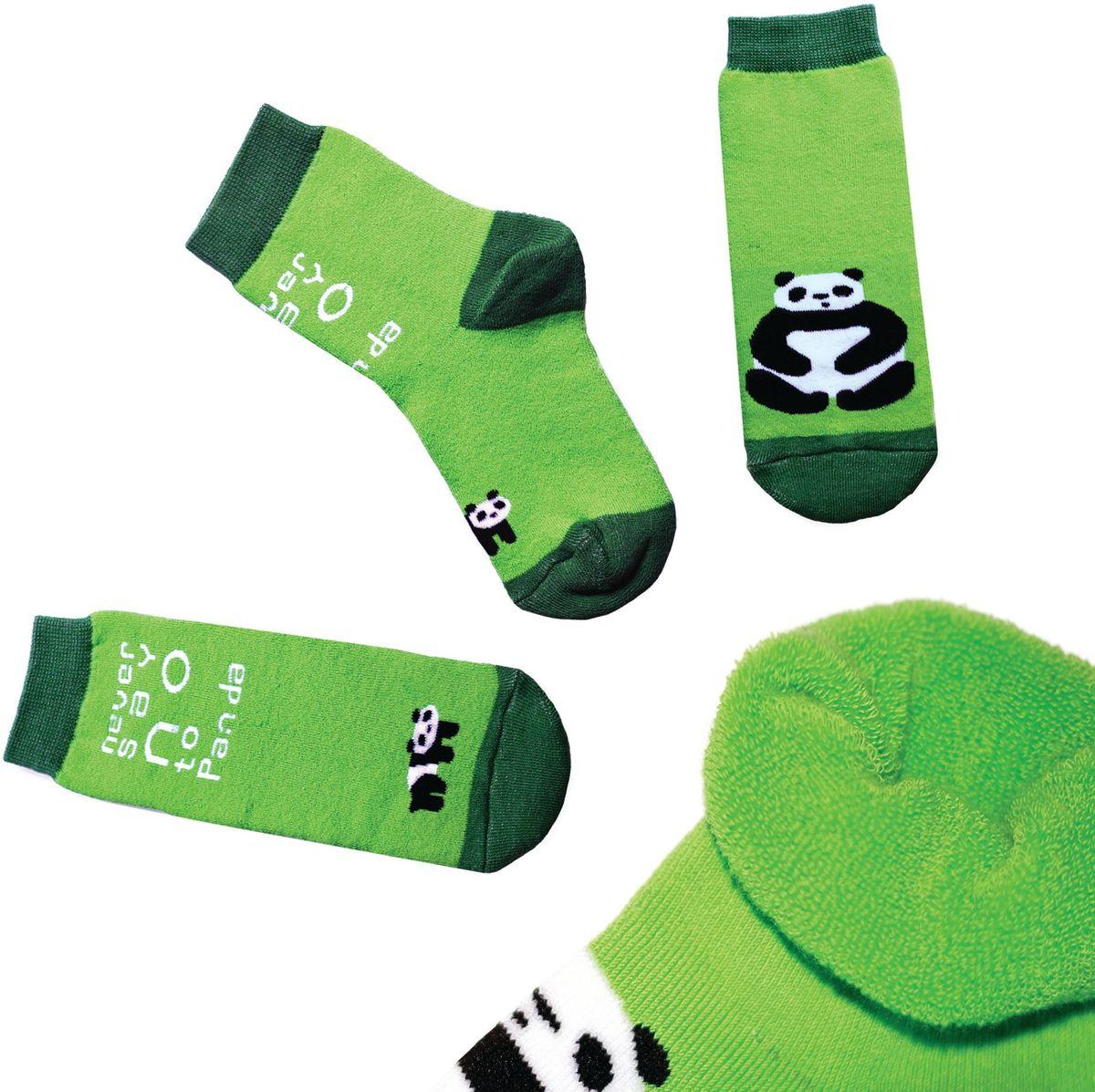 Носкиn113Яркие носки с несимметричным принтом панда и надписью never say no to panda (никогда не говори нет панде), махровые