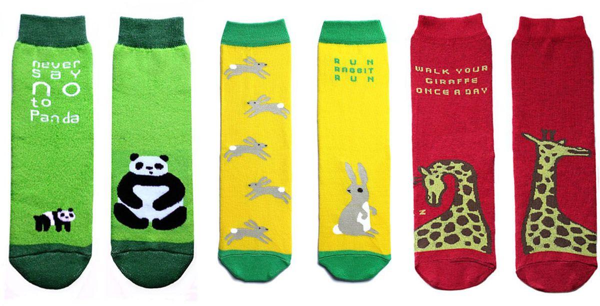 Носкиp0313Подарочный набор ярких, оригинальных носков с несимметричными принтами панда, заяц, жираф, махровые