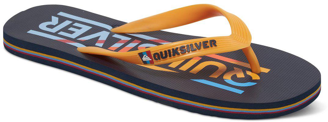 СланцыAQYL100232-XBBNМодные мужские сланцы Molokai Wordmar от Quiksilver покорят вас своим удобством. Верх модели выполнен из мягкого пластика. Эргономичная перемычка между пальцами позволит надежно закрепить модель на стопе. Мягкая фактурная стелька позволяет не скользить ноге при движении. Упругая губчатая каучуковая подошва с логотипом Quiksilver обеспечивает уверенное сцепление с любой поверхностью. Текстовый и графический логотип Quiksilver на стрепе придает сланцам особый вид. Стильные сланцы прекрасно подойдут для похода в бассейн или на пляж.