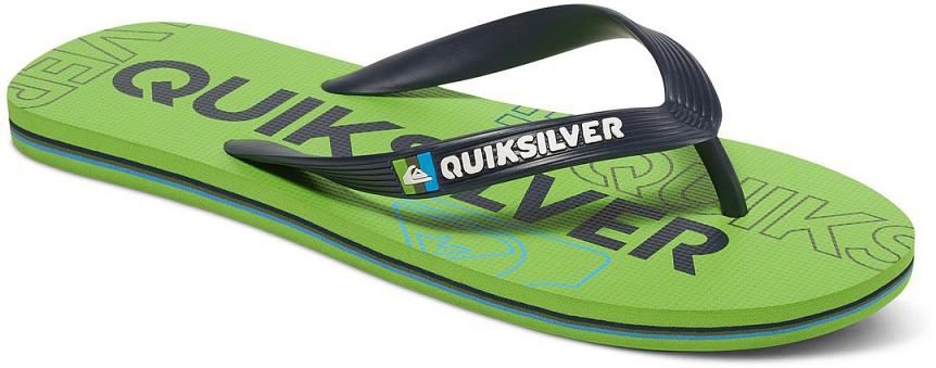 СланцыAQYL100233-XGGKМодные мужские сланцы Molokai Nitro от Quiksilver покорят вас своим удобством. Верх модели выполнен из мягкого пластика. Эргономичная перемычка между пальцами позволит надежно закрепить модель на стопе. Мягкая фактурная стелька позволяет не скользить ноге при движении. Упругая губчатая каучуковая подошва с логотипом Quiksilver обеспечивает уверенное сцепление с любой поверхностью. Текстовый и графический логотип Quiksilver на стрепе придает сланцам особый вид. Стильные сланцы прекрасно подойдут для похода в бассейн или на пляж.