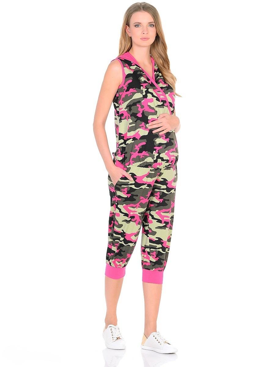 Комбинезон103197Модный комбинезон из трикотажа в модной камуфляжной расцветке. Универсальный крой предусмотрен для женщин в период беременности и грудного кормления. Верхняя часть без рукавов, на запах, с капюшоном. В поясе вшита мягкая резиночка, по бокам косые внутренние карманы. Брючины свободного покроя, ниже колена оканчиваются трикотажными манжетами. Эксклюзивный дизайн с легким спортивным оттенком на фоне расцветки милитари смотрится очень креативно и стильно. Такой комбинезон обеспечит комфорт и свободу движениям, подчеркнет особый вкус и индивидуальность.