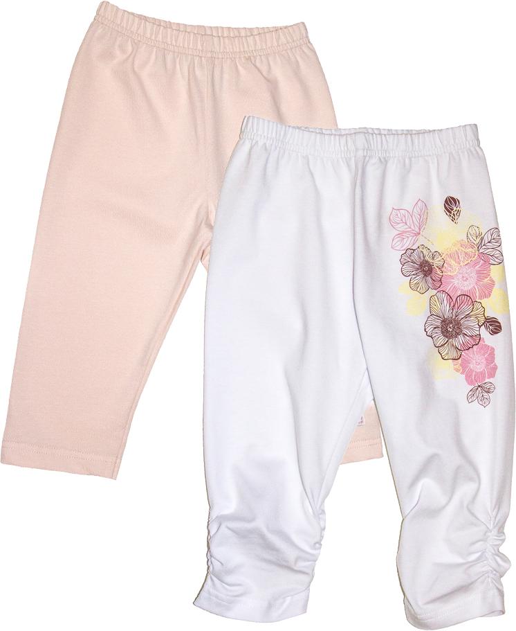 Комплект одежды50-112Комплект из двух штанишек для девочек можно чередовать в зависимости от настроения и погоды. Эти лосины можно носить под платьем или вместе с майкой. На белых лосинах декоративная сборка на резинку внизу.