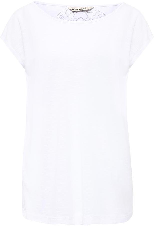 ФутболкаTs-111/717-7225Модная женская футболка Sela с ажурной вставкой на спинке выполнена из легкого качественного материала. Модель прямого кроя с цельнокроеными рукавами подойдет для прогулок и дружеских встреч и будет отлично сочетаться с джинсами и брюками, а также гармонично смотреться с юбками. Воротник изделия дополнен мягкой эластичной бейкой. Мягкая ткань на основе вискозы и полиэстера комфортна и приятна на ощупь.