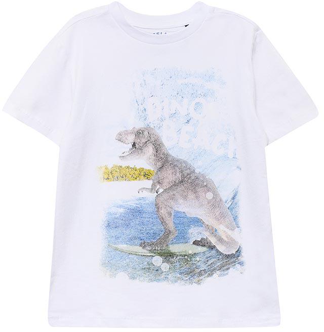 ФутболкаTs-811/1087-7215Модная футболка для мальчика Sela выполнена из натурального хлопка и оформлена принтом с динозавром. Модель прямого кроя подойдет для прогулок и дружеских встреч и будет отлично сочетаться с джинсами и брюками. Воротник изделия дополнен мягкой трикотажной резинкой. Мягкая ткань комфортна и приятна на ощупь.