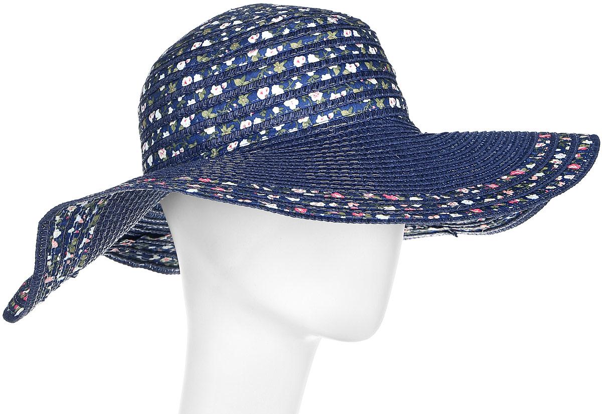 Шляпа4/0051Широкополая шляпа Модные истории выполнена из целлюлозы. Модель оформлена плетением и оригинальным цветочным принтом. Благодаря своей форме, шляпа удобно садится по голове и подойдет к любому стилю. Изделие легко восстанавливает свою форму после сжатия.