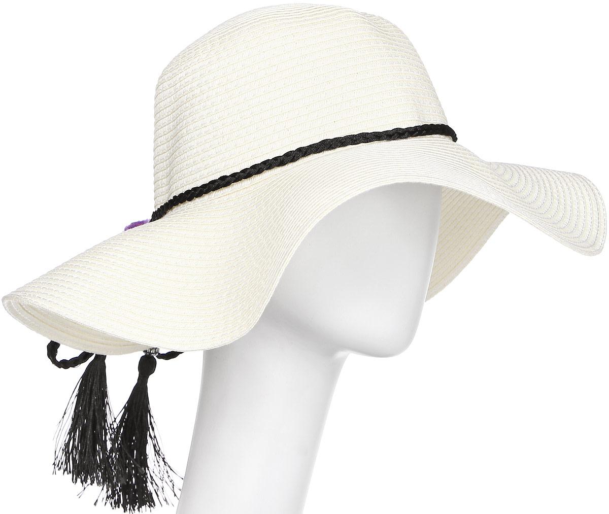 Шляпа4/0052/001Широкополая шляпа Модные истории выполнена из целлюлозы. Модель оформлена плетением и декоративными нашивками в виде помпонов и косичек. Благодаря своей форме, шляпа удобно садится по голове и подойдет к любому стилю. Изделие легко восстанавливает свою форму после сжатия.