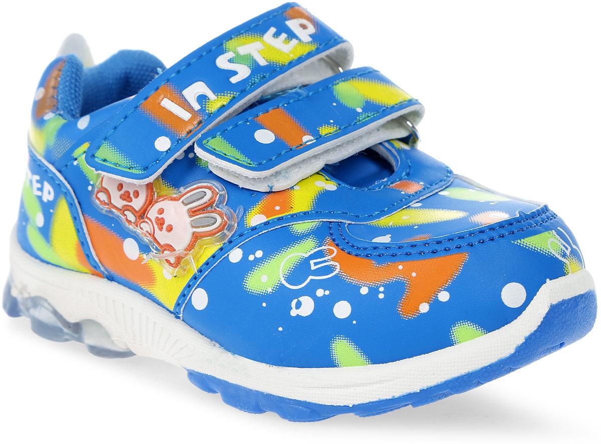 КроссовкиML002Детские кроссовки от In Step выполнены из искусственной кожи. Ремешки на липучке гарантируют надежную фиксацию обуви на ноге. Внутренняя поверхность и стелька из текстиля комфортны при движении. Рельефная подошва изготовлена из резины.