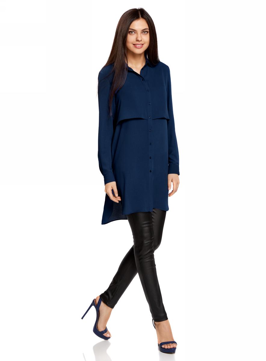Блузка11411145/36215/4A00NУдлиненная блузка женская oodji Ultra выполнена из высококачественного материала. Модель с отложным воротником и длинными рукавами застегивается на пуговицы. По бокам блузка оформлена разрезами.