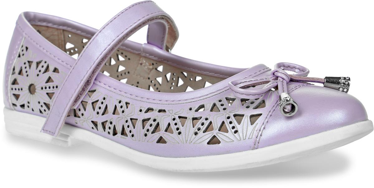 Туфли533007-21Модные туфли для девочки от Котофей выполнены из искусственной кожи и оформлены декоративной перфорацией, на мыске - бантиком. Ремешок с застежкой-липучкой надежно зафиксирует модель на ноге. Внутренняя поверхность и стелька из натуральной кожи обеспечат комфорт при движении. Подошва и невысокий каблук дополнены рифлением.