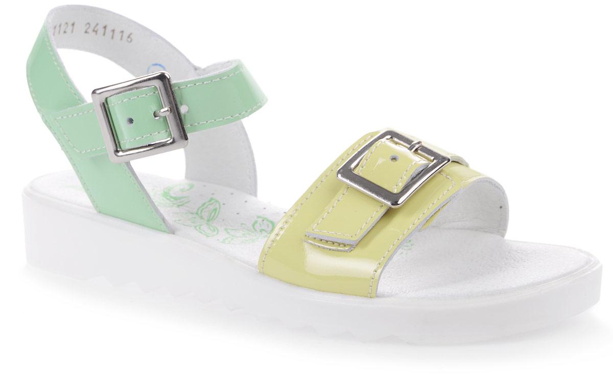 Сандалии722011-21/522092-21Модные сандалии для девочки от Котофей выполнены из натуральной кожи. Ремешки с металлическими пряжками надежно зафиксируют модель на ноге. Внутренняя поверхность и стелька из натуральной кожи обеспечат комфорт при движении. Утолщенная подошва дополнена рифлением.