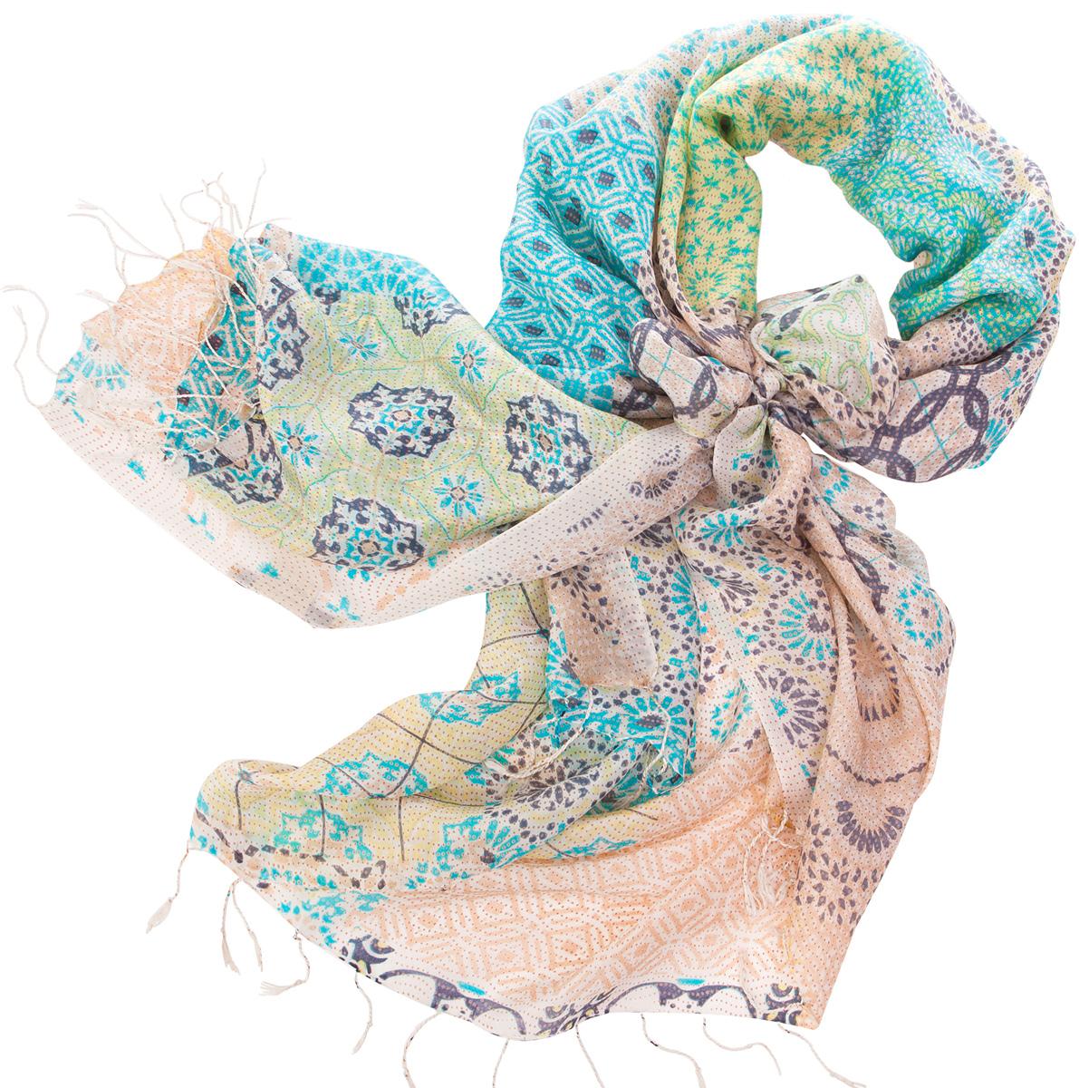 ПалантинS30-EURO.TILE/WHITEНарочито рыхлое плетение Plain тончайшей шелковой нитью Mulberry, нежная полупрозрачная ткань Chiffon. Вес изделия 60г (30 г/м2).