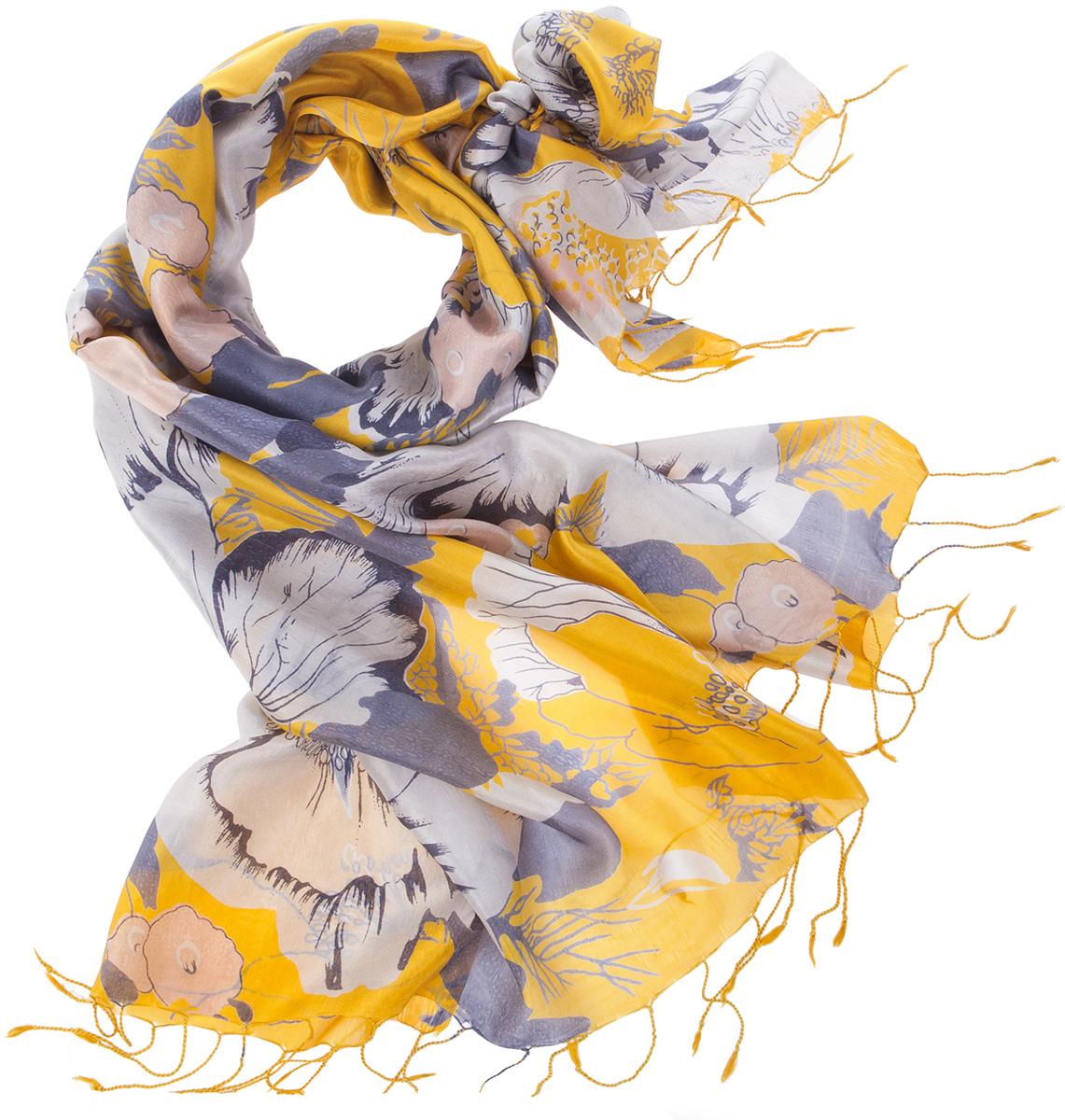 ПалантинS30-HIBIS.EXOTIC/GOLD.YELНарочито рыхлое плетение Plain тончайшей шелковой нитью Mulberry, нежная полупрозрачная ткань Chiffon. Вес изделия 60г (30 г/м2).