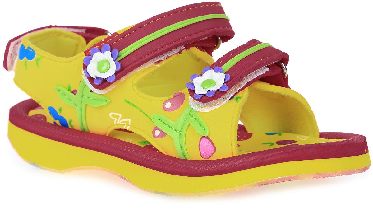 Сандалии225025-11Модные сандалии для девочки от Котофей выполнены из материала ЭВА. Внутренняя поверхность из текстиля не натирает. Ремешки с застежками-липучками надежно зафиксируют модель на ноге. Стелька из материала ЭВА обеспечивает комфорт при движении. Подошва дополнена рифлением.
