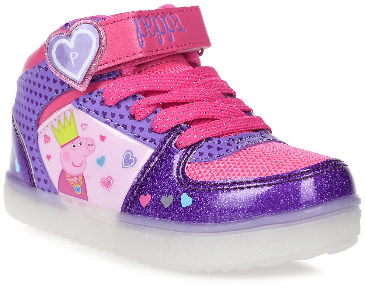 Ботинки6748AЯркие ботинки Peppa Pig от Kakadu, непременно, понравятся маленькой моднице! Модель выполнена из высокопрочной синтетической кожи и дышащего текстиля и оформлена принтом с изображением Свинки Пеппы. Шнуровка и ремешок с застежкой-липучкой обеспечивают надежную фиксацию обуви на ноге. Подкладка из хлопка и текстиля позволяет ногам дышать и сохраняет тепло. Съемная текстильная стелька удобна в эксплуатации и позволяет быстро просушивать обувь. Устойчивая подошва из резины остается эластичной при любой температуре. Светодиодная подсветка подошвы приведет в восторг вашу девочку. Рифление на подошве обеспечивает надежное сцепление с поверхностью. Модные и удобные ботинки - необходимая вещь в гардеробе каждого ребенка.
