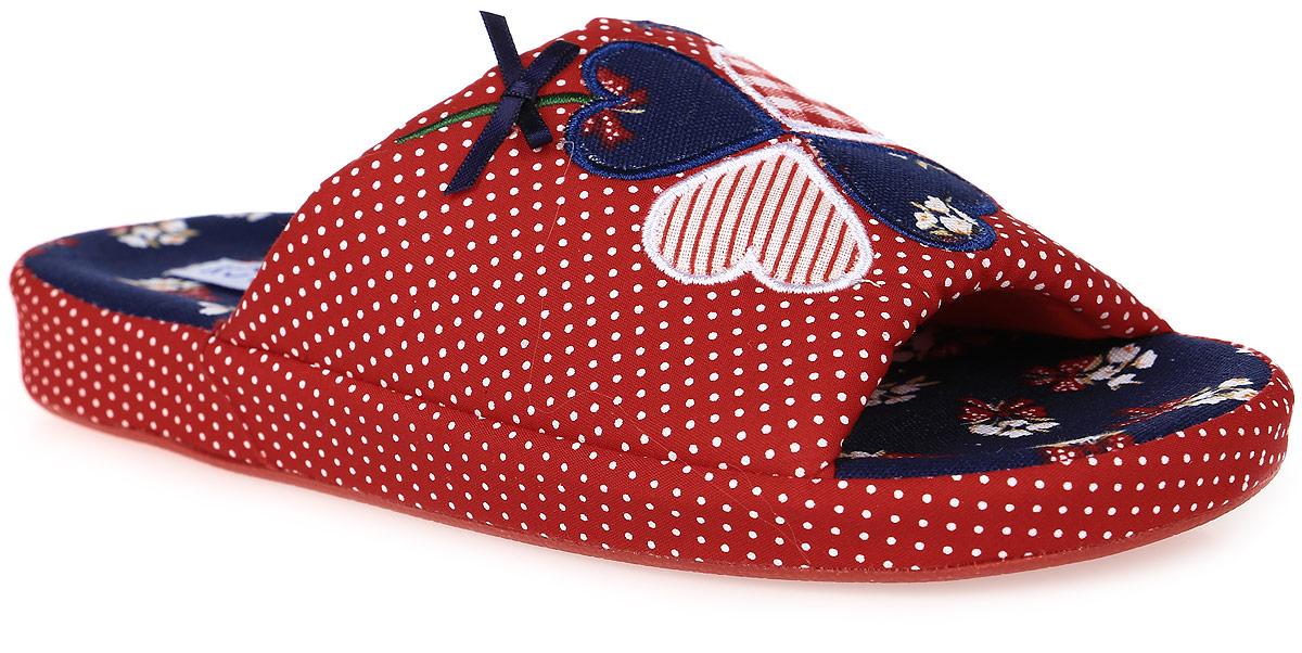 Тапочки531030-11Домашние тапки с открытым носком для девочки от Котофей выполнены из текстиля. Верх украшен декоративными нашивками. Подкладка и стелька выполнены из текстиля. Подошва дополнена рифлением.