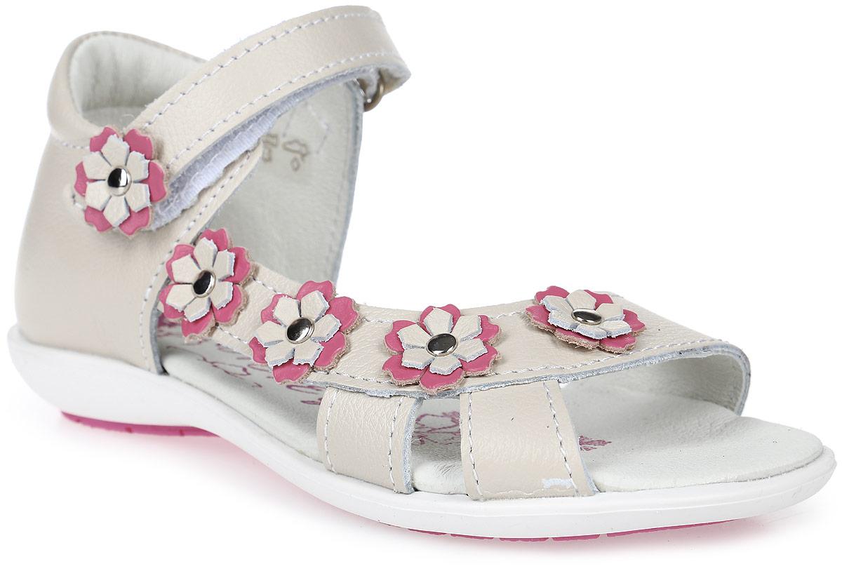 Сандалии322021-23Милые сандалии от Котофей придутся по душе вашей девочке. Модель выполнена из высококачественной натуральной кожи и оформлена композицией из декоративных цветков. Высокий задник и ремешок с застежкой-липучкой обеспечивают надежную фиксацию модели на стопе. Внутренняя поверхность и стелька из натуральной кожи обеспечивают максимальный комфорт при движении. Стелька дополнена супинатором с перфорацией, который обеспечивает правильное положение ноги ребенка при ходьбе, предотвращает плоскостопие. Подошва с рифлением обеспечивает оптимальное сцепление с поверхностью. Удобные сандалии - незаменимая вещь в гардеробе каждой девочки.
