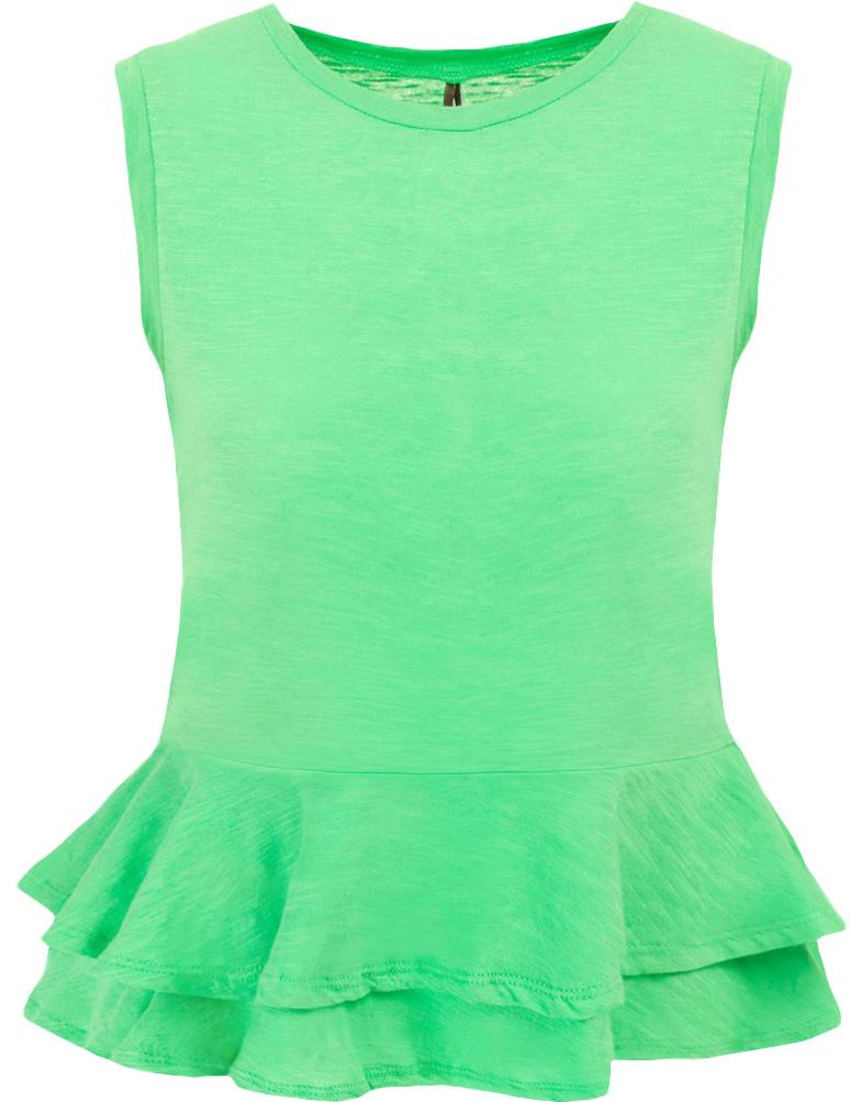БлузкаB237033_Bright GreenБлузка женская Baon выполнена из натурального хлопка. Модель с круглым вырезом горловины понизу оформлена оборками.