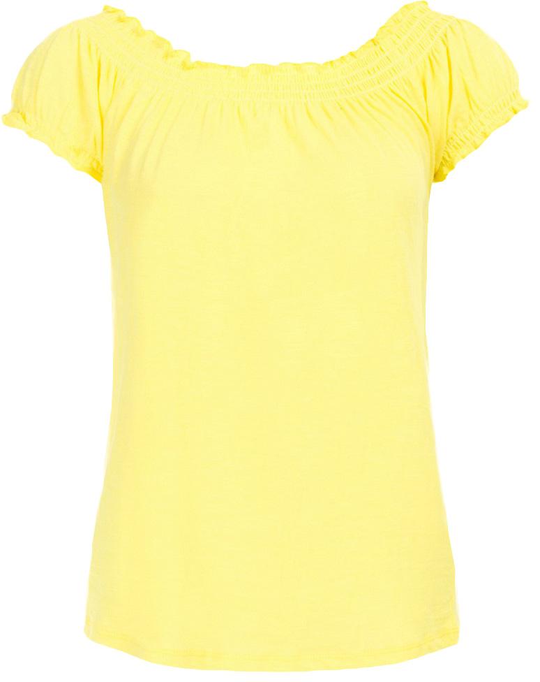 ФутболкаB237050_Bright YellowФутболка женская Baon выполнена из натурального хлопка. Модель с воротником лодочкой и короткими рукавами.
