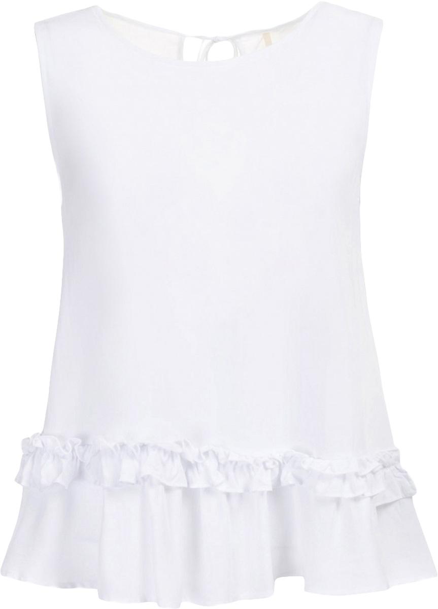 ТопB267030_WhiteТоп женский Baon выполнен из вискозы. Модель с круглым вырезом горловины понизу дополнен оборками.