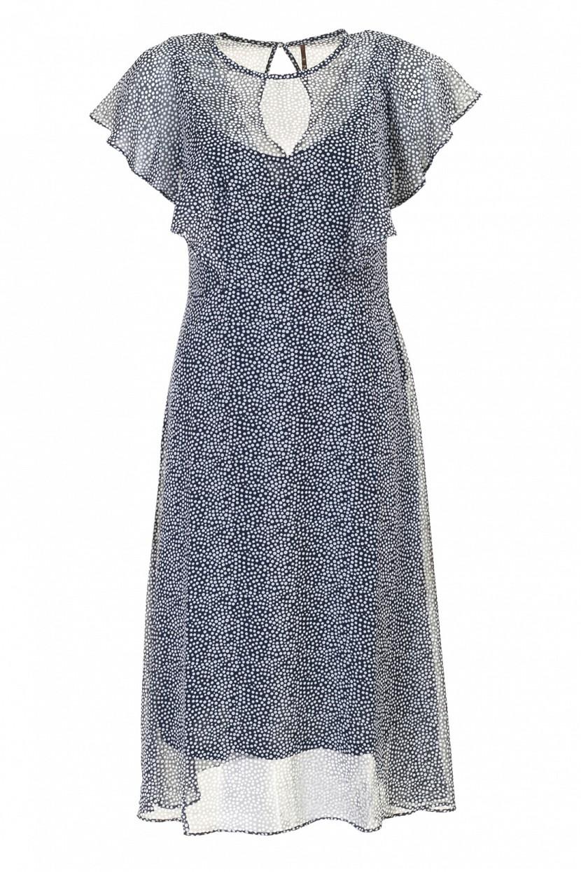 ПлатьеB457035_Dark Navy PrintedПлатье Baon выполнено из полиэстера. Изделие имеет актуальные рукава-воланы. На спине расположена застёжка на пуговицу.