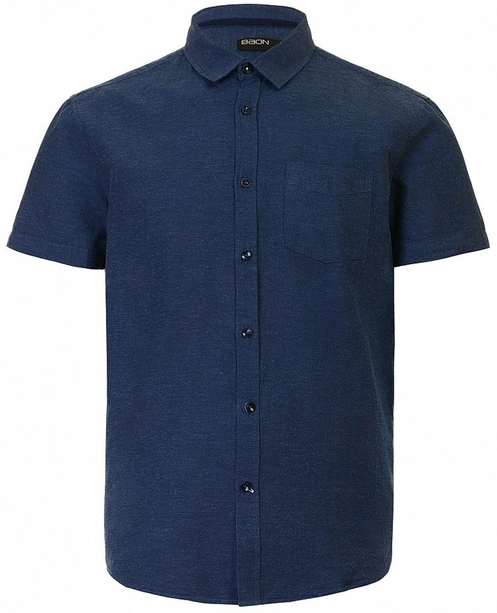 РубашкаB687013_Deep NavyРубашка мужская Baon выполнена из хлопка и льна. Модель с отложным воротником и короткими рукавами застегивается на пуговицы.