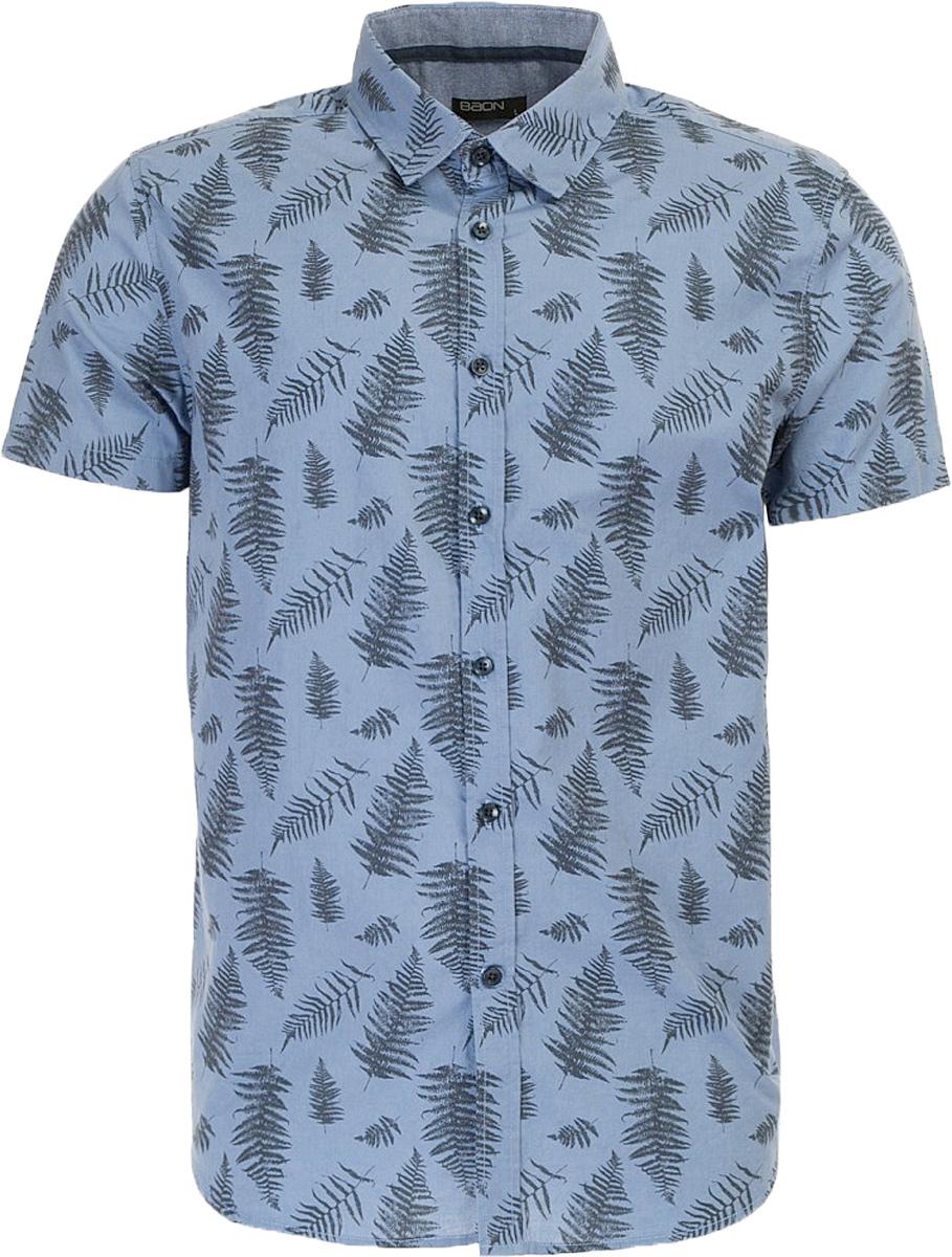 РубашкаB687011_Deep Navy PrintedРубашка мужская Baon выполнена из натурального материала. Модель с отложным воротником и короткими рукавами застегивается на пуговицы.