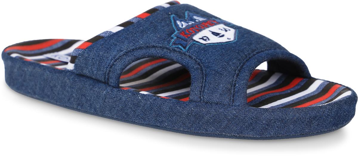 Тапочки531023-11Домашние тапки с открытым носком для мальчика от Котофей выполнены из текстиля. Верх украшен декоративной нашивкой. Подкладка и стелька выполнены из текстиля. Подошва дополнена рифлением.