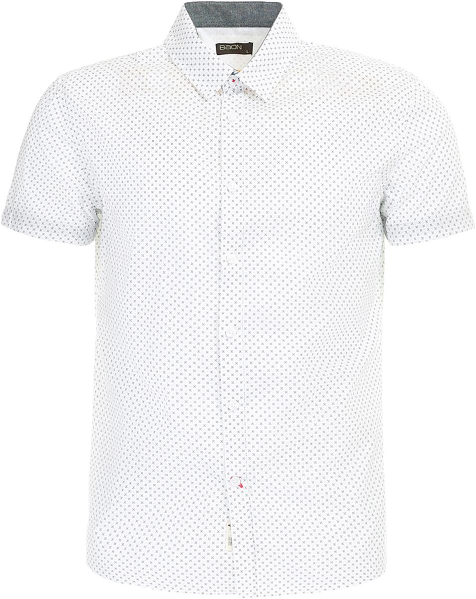 РубашкаB687003_White PrintedРубашка мужская Baon выполнена из натурального материала. Модель с отложным воротником и короткими рукавами застегивается на пуговицы.