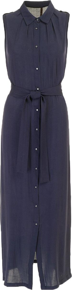 ПлатьеB457096_Deep NavyПлатье-рубашка Baon выполнено из вискозы. Плечи декорированы погонами. Изделие застёгивается на пуговицы, расположенные по всей длине. Приталенный силуэт можно создать при помощи завязывающегося пояса.