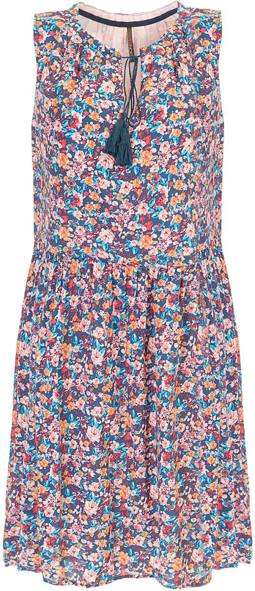 ПлатьеB457070_Navy PrintedПлатье Baon выполнено из натурального хлопка. Округлый вырез горловины дополнен завязывающимся шнурком с кистями. Задняя часть юбки слегка удлинена, что создаёт модный силуэт.