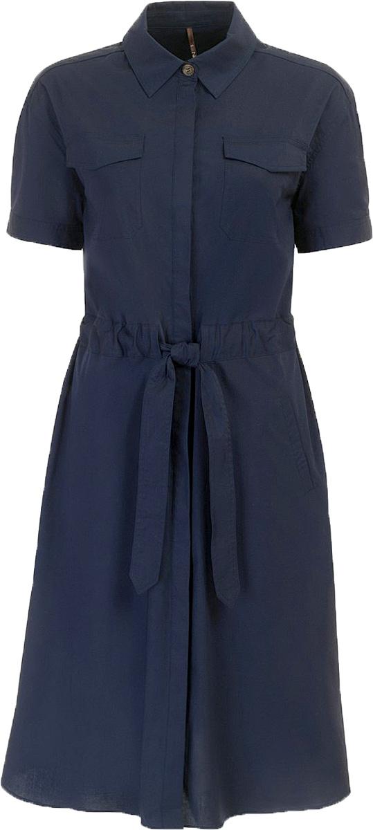 ПлатьеB457067_Dark NavyПлатье Baon выполнено из хлопка и эластана. Изделие застёгивается на потайные пуговицы. Приталенный силуэт создается при помощи завязывающегося пояса, вставленного в широкую кулиску на талии. На груди и по бокам расположены карманы.