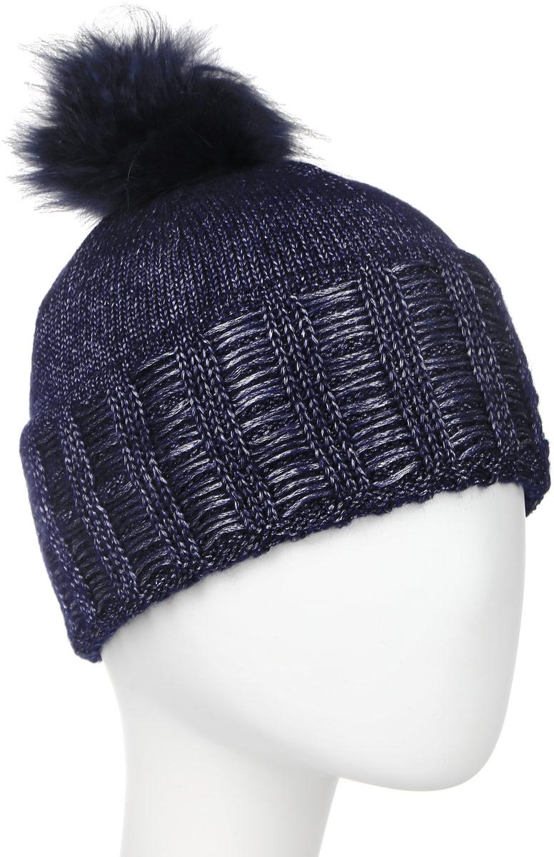 Шапка4-0046-180Стильная однослойная шапка с отворотом с натуральной шерстью в составе и помпоном из натурального меха. Меланжевая вязка. Отличный аксессуар защитит в непогоду и подарит ощущение теплоты.