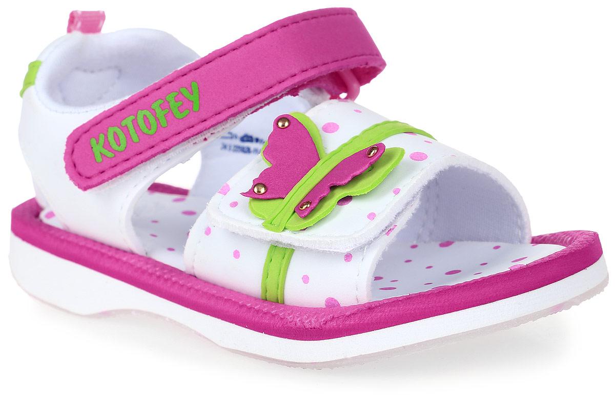 Сандалии225026-11Модные сандалии для девочки от Котофей выполнены из материала ЭВА. Внутренняя поверхность из текстиля не натирает. Ремешки с застежками-липучками надежно зафиксируют модель на ноге. Стелька из материала ЭВА обеспечивает комфорт при движении. Подошва дополнена рифлением.