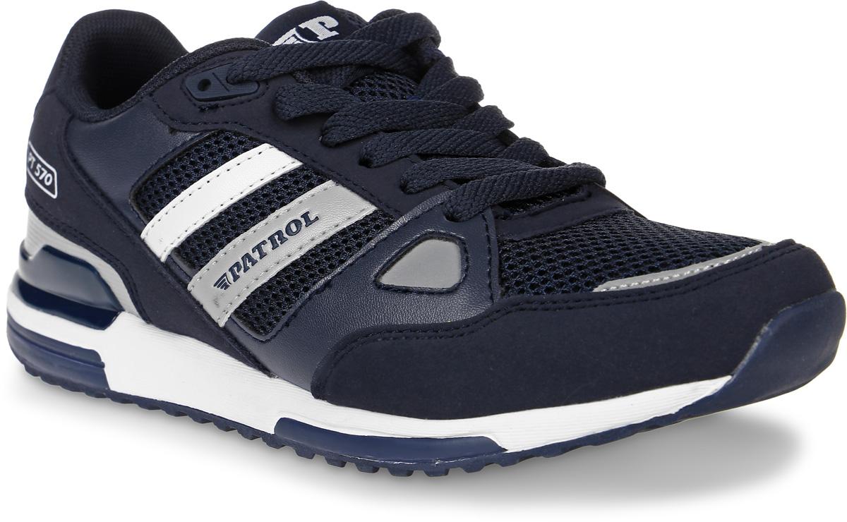 Кроссовки773-603T-17s-04/8-16Стильные кроссовки от Patrol - отличный выбор для вашего мальчика на каждый день. Верх модели выполнен из искусственного нубука и сетчатого текстиля. Кроссовки оформлены контрастными полосками из синтетической кожи с названием бренда. Шнуровка на подъеме обеспечивает надежную фиксацию обуви на ноге. Подкладка и стелька из текстильного материала создают комфорт при носке. Подошва выполнена из легкого ТЭП-материала. Рифление на подошве обеспечивает отличное сцепление с любой поверхностью. Модные и комфортные кроссовки - необходимая вещь в гардеробе каждого ребенка.
